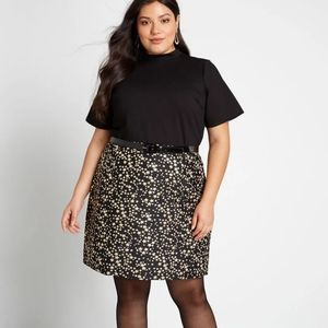 ModCloth A Leading Delight Mock Neck Dress